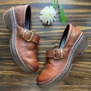 Born Brown Leather Slip On Clogs